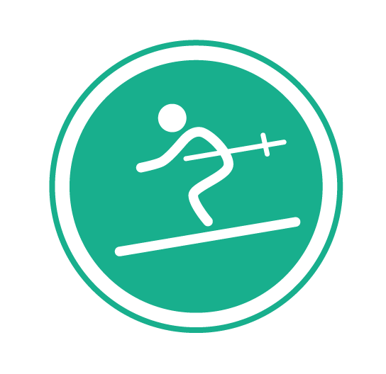 Green circle with skier   Easy