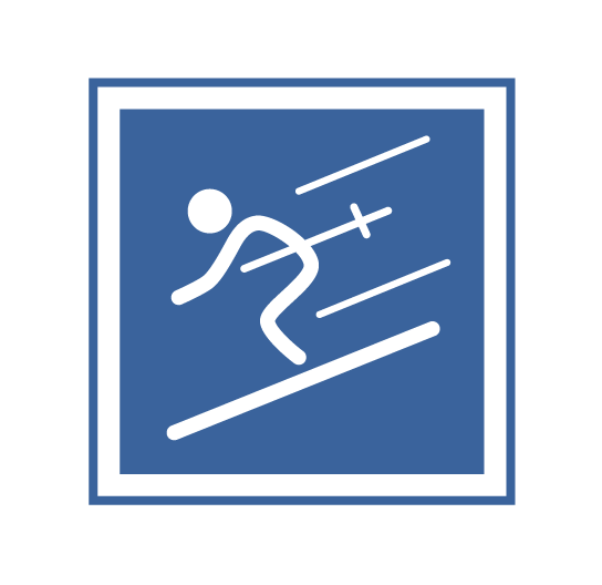 Blue square with skier   Intermediate