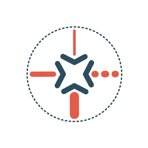 Icon   Circle with 4 arrows pointing inward