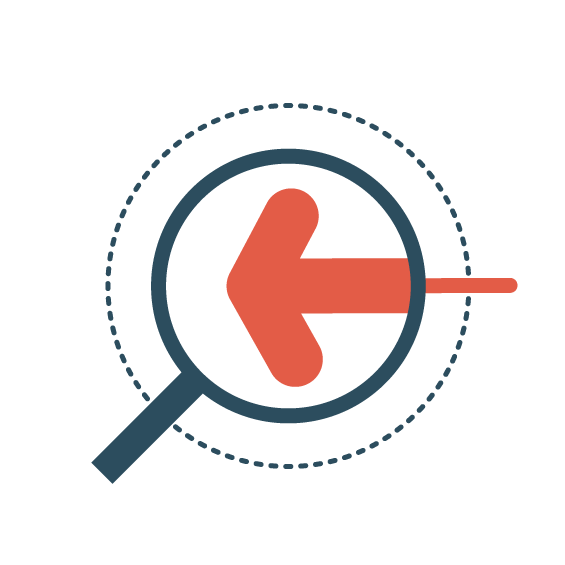 Icon   Circle with magnifying glass looking at arrow